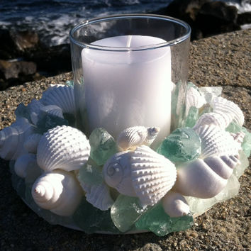 Beach Decor - Sea Glass And Shell Wreath With Candle (SGW004)