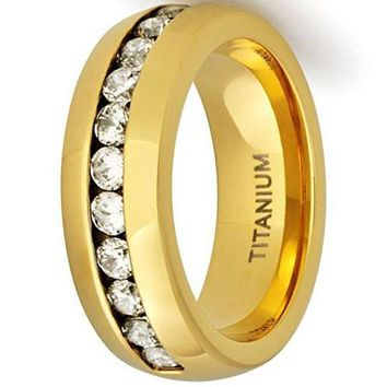 CERTIFIED 8MM 18K Gold Titanium Wedding Band Engagement Ring with Channel Set CZ