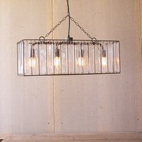 Rectangle Pendant Light With Glass Chimes