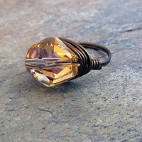 Wire Wrapped Ring Copper AB Swarovski Crystal by UrbanCorner