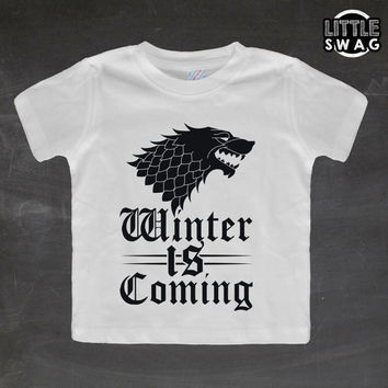 Winter Is Coming (white shirt) - toddler apparel, kids t-shirt, children's, kids swag, fashion, clothing, game of thrones, kids clothes,