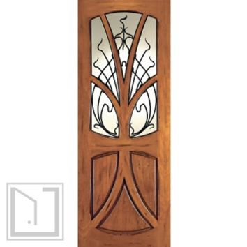 AN-2007-1 Mahogany Tree Lite Hand Carved Art Nouveau Single Door Forged Iron