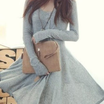 Grey Blends Women Fashion Round Neck Long Sleeve Asymmetrical Knee-Length Dress One Size FZ72261g (Color: Gray) = 1931901316