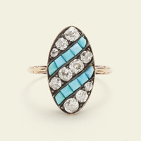 Early Victorian Diamond and Turquoise Cocktail Ring