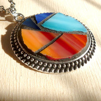 Red Stained Glass Round Pendant Necklace, Blue Glass Jewelry