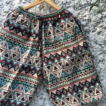 Boho Festival Men Shorts Aztec Hippie Beach Clothing Tribal Ikat Southwestern Native Vegan Style Burning man Coachella Hipster Unique Unisex