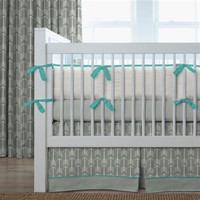 Gray and Teal Arrow Baby Crib Bedding