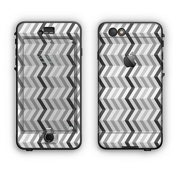 The Black and White Thin Lined ZigZag Pattern Apple iPhone 6 Plus LifeProof Nuud Case Skin Set