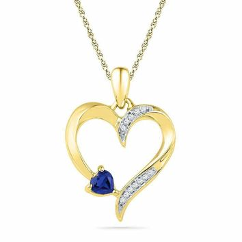 10kt Yellow Gold Women's Round Lab-Created Blue Sapphire Heart Love Pendant 1-20 Cttw - FREE Shipping (US/CAN)