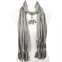 Fashion Desinge a Series of Plaits Adorn with Alloy Charm Elephant Pendant Grey Jewelry Scarf,nl-1788g