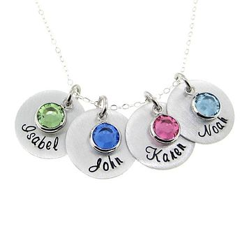 Mother's Birthstone and Name Disc Necklace