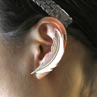 Textured Feather Earring Cuff Set
