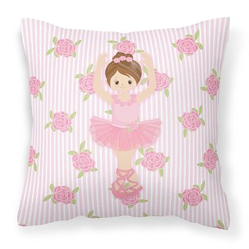 Ballerina Brunette Front Pose Fabric Decorative Pillow BB5173PW1818