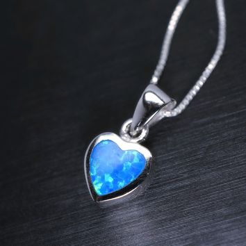 Tiny Opal Necklace, Blue Opal Pendant, Full Sterling Silver Blue Heart Necklace, Delicate Opal Jewelry, Children Jewelry