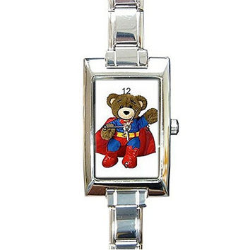 "Teddy Bear "" Superman "" Rectangular Italian Charm Watch.Think Small Wrist"