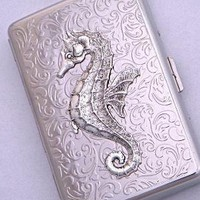 Seahorse Cigarette Case Credit Card or Business by CosmicFirefly