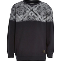 River Island Boys navy paisley fade out sweatshirt