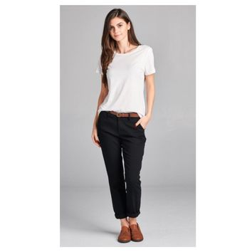 Adorable Black Twill Pants with Belt
