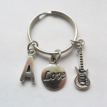 One initial guitar and love disc keyring, best friends keychain, bff, sisters | eBay