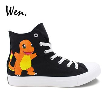 Wen Design Black Anime Shoes Hand Painted Pokemon Go Charmander Male Canvas Sneakers High Top Custom Female Casual Footwear
