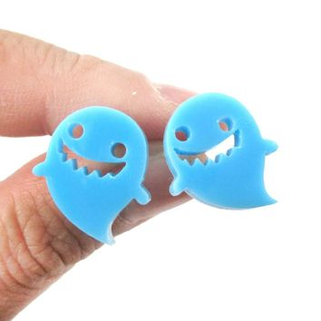 Adorable Laser Cut Acrylic Ghost Shaped Statement Stud Earrings in Blue