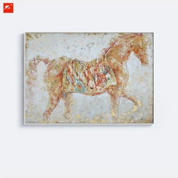Wildlife Abstract Golden Horse Decorative Animal Wall Art Canvas Print plus 50% Hand Painted Oil Painting Home Decor Picture