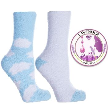 Non Skid Slipper Socks with Grippers — Lavender Infused Cloud — 2 Pair