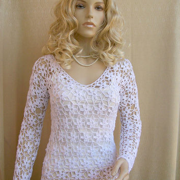 Crocheted sweater-blouse  made to order, crochet handmade