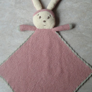 Bunny Blanket Lovie PDF Knitting Pattern, Baby & Toddler Security Blanket by Girlpower