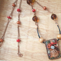 Red Necklace - Coin Pendant - Floral Pendant with Shells - Resin Pendant - Unique Necklace - Nature Inspired Necklace - Gift for a Friend