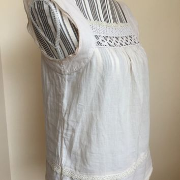 Semi Sheer Gauze Top Size Small, Square Neckline Cream Sleeveless Top, Eyelet Lace Blouse, Loose Fit Shirt, Boho Chic Cotton Tank Top