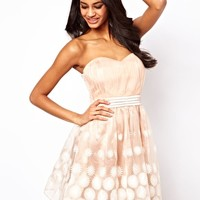 Little Mistress Floral Organza Bandeau Prom Dress - Nude