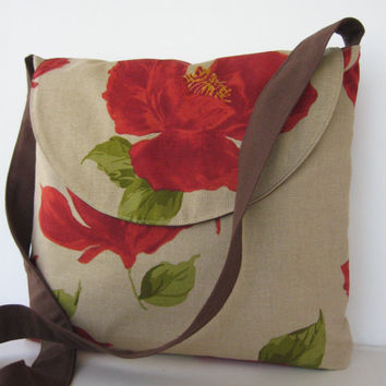 Messenger Bag in Rustic Poppy by jazzygeminis on Etsy