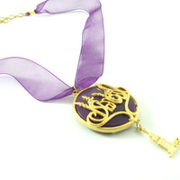 Purple istanbul maiden tower charm gemstone necklace(purple organza ribbon, gold plated brass, gold plated chain, handmade, turkish, ottoman