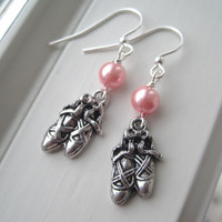 Ballet Earrings - Ballet Jewelry - Ballet Shoe Earrings - Silver Charm Earrings - Pink Dangle Earrings - Dance Earrings - Dance Jewelry