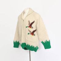 Vintage 60s COWICHAN Sweater / 1960s DUCKS Zip Up Hand Knit Cardigan L