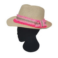 Straw Hat with Pink Ethnic Trim and Lace, Fashion Straw Hat, Straw Summer Hat