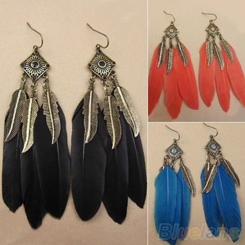 Women's Vintage Creative Square Bronze Leaf Feather Dangle Stud Long Earrings = 1946566148