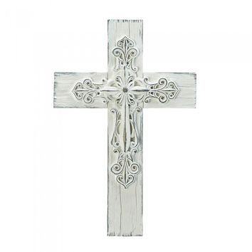3-D Whitewashed Cross