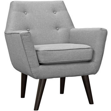 Modway Posit Armchair in Tufted Light Gray Fabric on Espresso Finish Legs