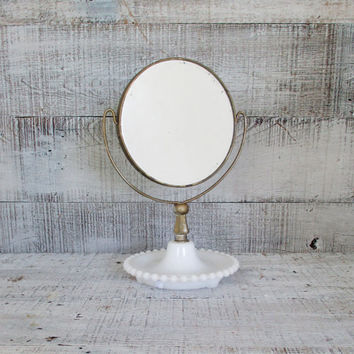 Mirrror Vintage Milk Glass Vanity Mirror Antique Shaving Mirror Magnifier Tilting Mirror Mid Century Vanity Mirror Stand Milk Glass Hobnail