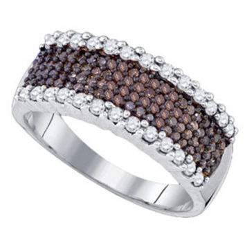 Sterling Silver Chocolate Brown & White 0.75 ctw Diamond Wedding Anniversary Ring (Size 7): Size: 7