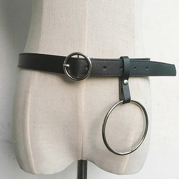 Hot Fashion Designer Leather Punk Harajuku Big O Ring Belt Exaggerated Big Metal Ring Metal Hoop belt for Women