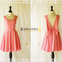 A Party Angel Dress Bubblegum Pink Party Dress Pink Bow Backless Prom Dress Bow Back Cocktail Dress Pink Wedding Bridesmaid Dresses XS-XL