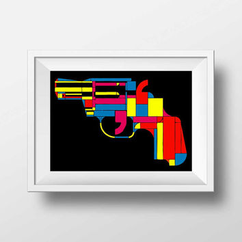 Pop Art Gun print - Andy Warhol Gun Print Style -  Pistol print wall decor