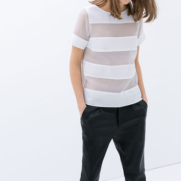 White Stripe Mesh Short-Sleeve Top