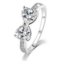 18K Platinum Plated Elegant Bow Crystal Diamond Wedding Engagement Promise Ring