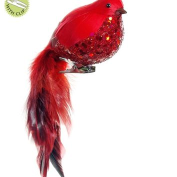 """8"""" In the Birches Red and Black Glitter Cardinal Bird Clip On Christmas Ornament"""