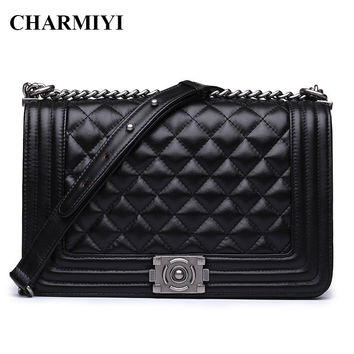CHARMIYI luxury women Genuine Leather Messenger bags Famous Brand designer crossbody bag Casual Fashion Chain women shoulder bag