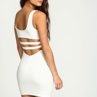 IVORY STRAPPY BACK BODYCON DRESS